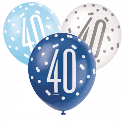 pack of 6 blue and white 40th birthday latex balloons from cardiff balloons