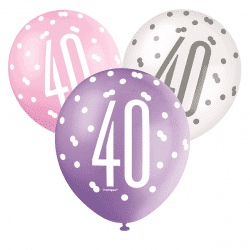 pack of 6 pink and white 40th birthday latex balloons from cardiff balloons