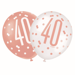 pack of 6 rose gold 40th birthday latex balloons from cardiff balloons