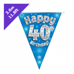blue 40th birthday bunting