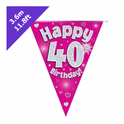 pink 40th birthday bunting