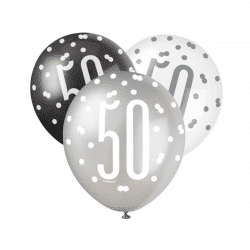 pack of 6 black and silver 50th birthday latex balloons from cardiff balloons