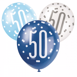 pack of 6 blue and white 50th birthday latex balloons from cardiff balloons