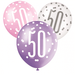 pack of 6 pink and white 50th birthday latex balloons from cardiff balloons