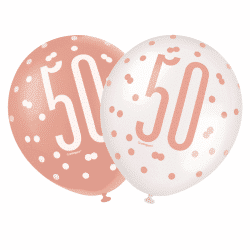 pack of 6 rose gold 50th birthday balloons from cardiff balloons
