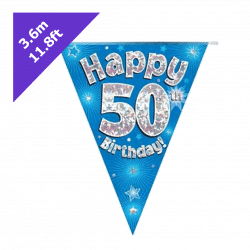 blue 50th birthday bunting