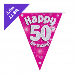 pink 50th birthday bunting