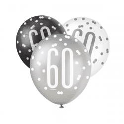 pack of 6 black and silver 60th birthday latex balloons from cardiff balloons