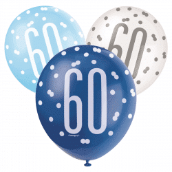 pack of 6 blue and white 60th birthday latex balloons from cardiff balloons