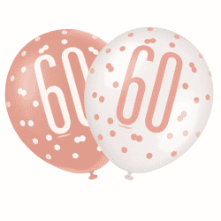 pack of 6 rose gold 60th birthday latex balloons from cardiff balloons