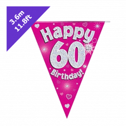 pink 60th birthday bunting