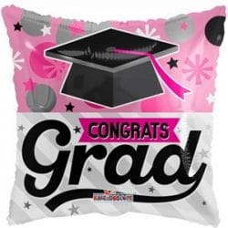 helium filled pink congrats grab foil balloon from cardiff balloons