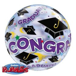 helium filled congrats bubble balloon from cardiff balloons