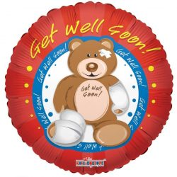 helium filled get well soon bear foil balloon from cardiff balloons