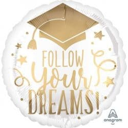 helium filled follow your dreams foil balloon from cardiff balloons