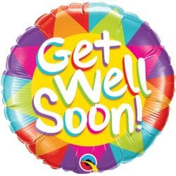 helium filled colourful get well soon foil balloon from cardiff balloons