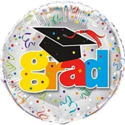helium filled grad foil balloon from cardiff balloons