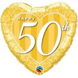 helium filled happy 50th anniversary foil balloon from cardiff balloons