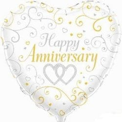 helium filled heart shaped happy anniversary foil balloon from cardiff balloons
