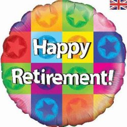 helium filled happy retirement foil balloon from cardiff balloons