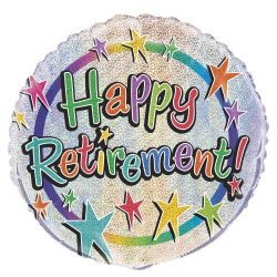 helium filled starry happy retirement foil balloon from cardiff balloons