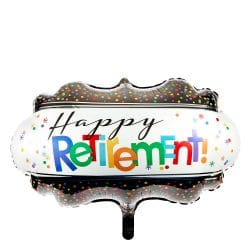 helium filled large happy retirement foil balloon from cardiff balloons