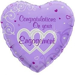 helium filled lilac congratulations on your engagement foil balloon from cardiff balloons
