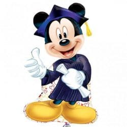 helium filled mickey mouse graduation large foil balloon from cardiff balloons