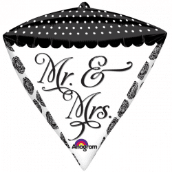 helium filled mr and mrs diamondz foil balloon from cardiff balloons