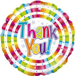 helium filled multicoloured thank you foil balloon from cardiff balloons