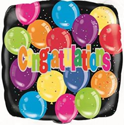 helium filled multicoloured congratulations foil balloon from cardiff balloons
