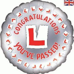 helium filled passed your driving test foil balloon from cardiff balloons