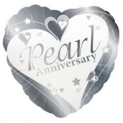 helium filled pearl anniversary foil balloon from cardiff balloons