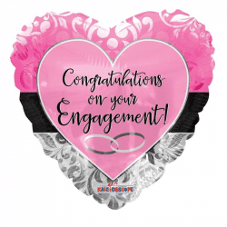 helium filled pink congratulations on your engagement foil balloon from cardiff balloons