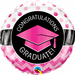 helium filled pink congratulations foil balloon from cardiff balloons
