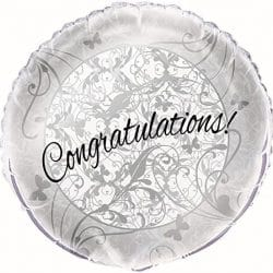 helium filled silver congratulations foil balloon from cardiff balloons