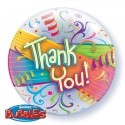 helium filled thank you bubble balloon from cardiff balloons