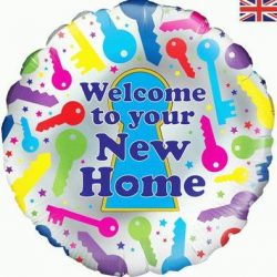 helium filled welcome to your new home foil balloon from cardiff balloons