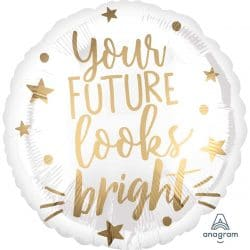 helium filled your future looks bright graduation foil balloon from cardiff balloons