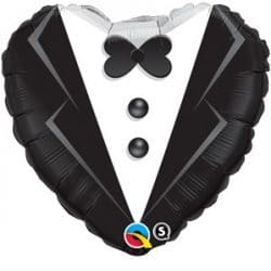 helium filled heart shaped tuxedo foil balloon from cardiff balloons