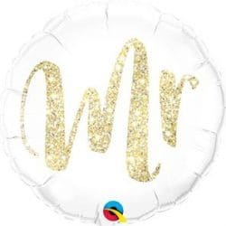 helium filled mr gold and white foil balloon from cardiff balloons