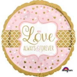 helium filled pink and gold love always wedding foil balloon from cardiff balloons
