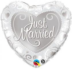 helium filled just married foil balloon from cardiff balloons