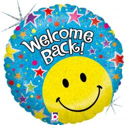 helium filled welcome back foil balloon from cardiff balloons
