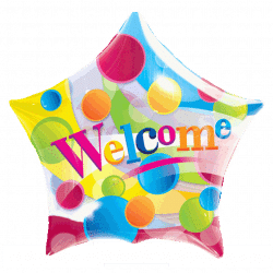 helium filled welcome bubble balloon from cardiff balloons