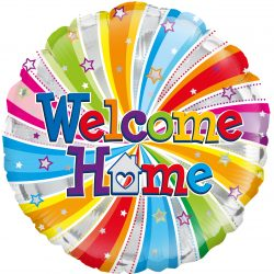 helium filled welcome home foil balloon from cardiff balloons