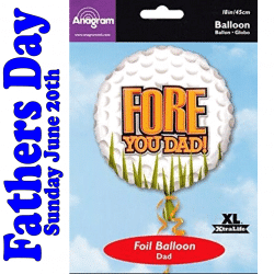 Fore You Dad Fathers Day Golf Balloon
