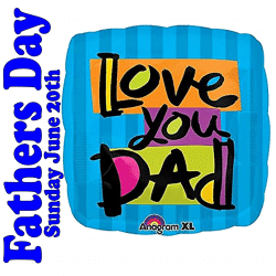 Helium Filled Love You Dad Foil Balloon From Cardiff Balloons