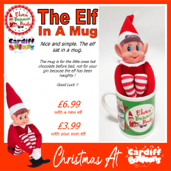 The Elf Sat In A Mug From Cardiff Balloons