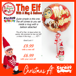 Elf with a balloon and mug from Cardiff Balloons